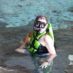 Jan mit Taucerbrille, Schnorchel und Schwimmweste