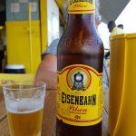 """Flasche mit Bier Marke """"Eisenbahn"""""""
